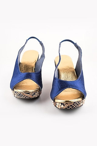 Navy Blue Checkered Peep-Toe Wedges by The Shoe Tales