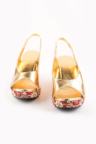 Red & Golden Embroidered Peep-Toe Wedges by The Shoe Tales