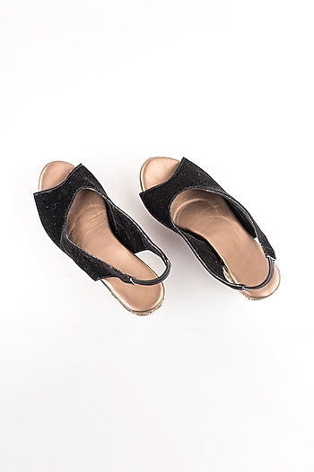 Black Embroidered Peep-Toe Wedges by The Shoe Tales