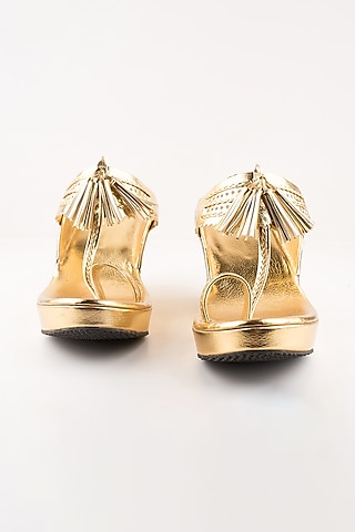Golden Leather Kolhapuri Wedges by The Shoe Tales