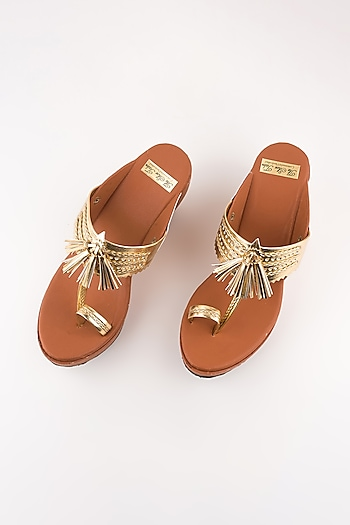 Tan Golden Leather Kolhapuri Wedges by The Shoe Tales