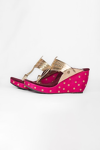 Pink & Maroon Leather Kolhapuri Wedges by The Shoe Tales