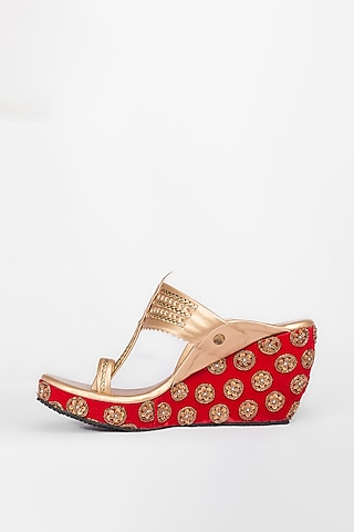 Red & Golden Embroidered Kolhapuri Wedges by The Shoe Tales