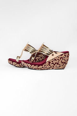 Maroon & Golden Embroidered Kolhapuri Wedges by The Shoe Tales