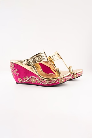 Pink Embroidered Kolhapuri Wedges by The Shoe Tales