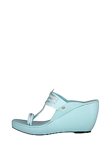 Ice Blue Kolhapuri Wedges by The Shoe Tales