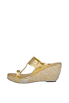 Off White Embroidered Kolhapuri Wedges by The Shoe Tales