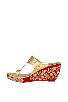 Golden Embroidered Kolhapuri Wedges by The Shoe Tales