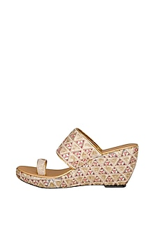 Pink & White Embroidered Lucknowi Wedges by The Shoe Tales