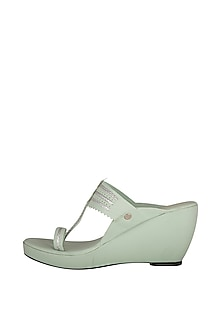 Mint Green Kolhapuri Wedges by The Shoe Tales