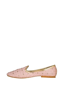 Blush Pink Embroidered Loafers by The Shoe Tales