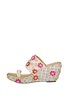 Pink & Red Embroidered Lucknowi Wedges by The Shoe Tales