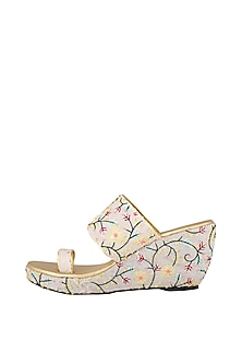 White Embroidered Lucknowi Wedges by The Shoe Tales