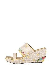 White Resham Embroidered Lucknowi Wedges by The Shoe Tales