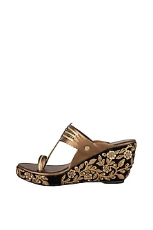 Black & Copper Embroidered Kolhapuri Wedges by The Shoe Tales