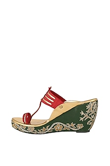 Maroon & Green Embroidered Kolhapuri Wedges by The Shoe Tales