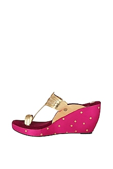 Maroon & Pink Embroidered Kolhapuri Wedges by The Shoe Tales