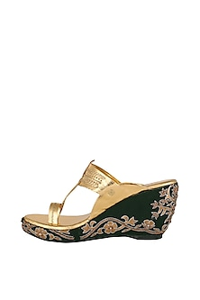 Golden & Green Embroidered Kolhapuri Wedges by The Shoe Tales