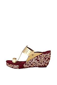 Maroon Embroidered Kolhapuri Wedges by The Shoe Tales
