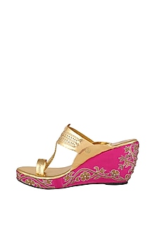Pink & Golden Embroidered Kolhapuri Wedges by The Shoe Tales