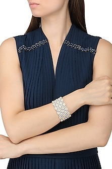 Rhodium Finish Zircons Multilayer Bracelet by Tsara