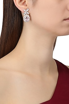 Rhodium Finish White and Baby Pink Zircons Earrings by Tsara