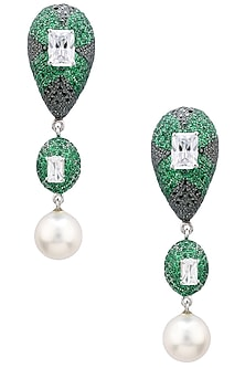 Rhodium Finish Zircons and Pearl Drop Earrings by Tsara