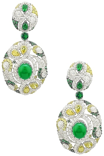 Rhodium and Gold Dual Finish Zircons and Green Stones Earrings by Tsara