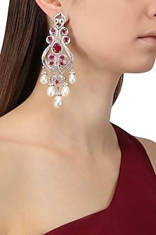 Rhodium Finish Zircons, Ruby and Pearl Earrings by Tsara
