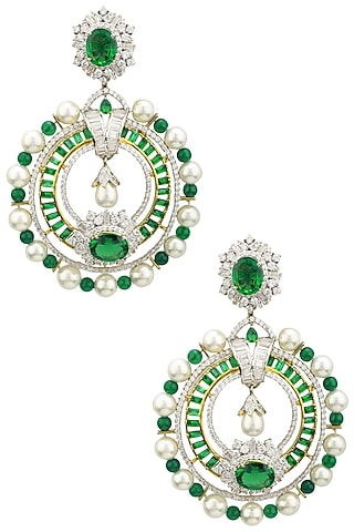 Rhodium and Gold Dual Finish Zircons and Emerald Stone Earrings by Tsara