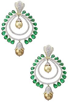 Rhodium and Gold Dual Finish Zircons Chandbali Earrings by Tsara