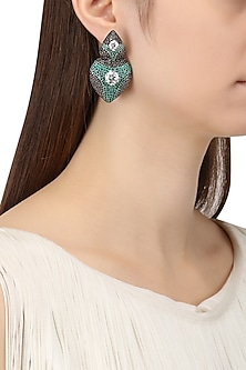Rhodium Finish Zircons and Swarovski Earrings by Tsara