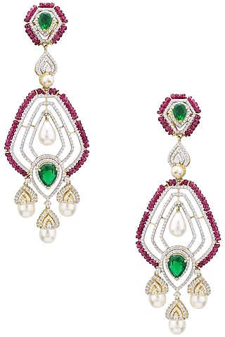 Rhodium Plated Zircons, Emerald and Ruby Earrings by Tsara