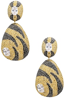 Rhodium and Gold Dual Finish Textured Drop Earrings by Tsara