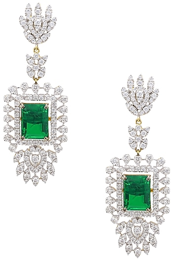 Rhodium Plated Zircons Chandelier Earrings by Tsara