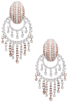 Rhodium and Rose Gold Dual Finish Zircons Earrings by Tsara