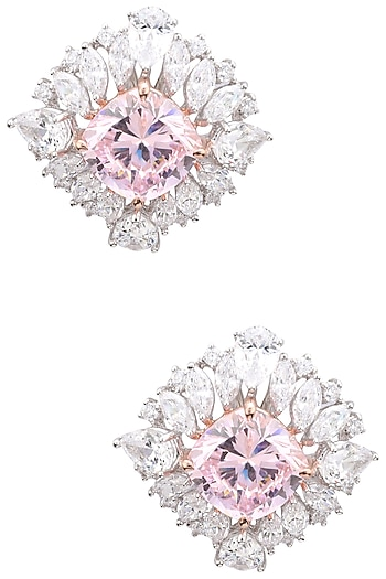Rhodium Plated White and Baby Pink Cubic Zircons Earrings