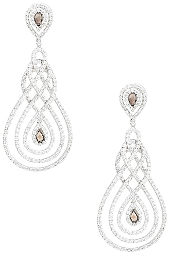 Rhodium Finish Cubic Zircons Chandelier Earrings by Tsara