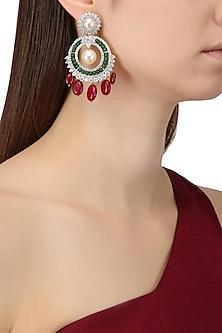 Rhodium Plated Zircons, Rubies and Emeralds Earrings by Tsara