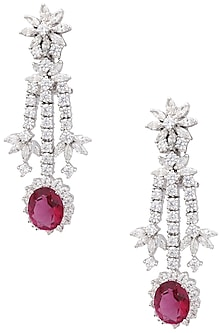 Rhodium Finish Zircons and Red Tourmaline Earrings by Tsara