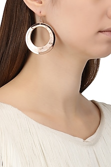Rose Gold Plated and Angular Leather Textured Earrings by Tsara