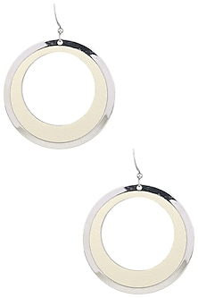 White Gold Plated and Leather Textured Earrings by Tsara
