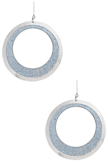 White Gold Plated and Blue Leather Textured Earrings by Tsara