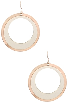 Rose Gold Plated and Leather Textured Earrings by Tsara