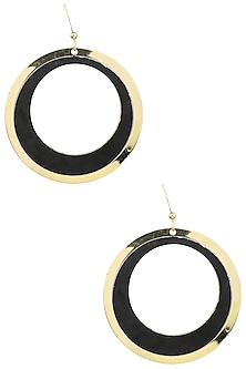 Yellow Gold Plated and Black Leather Earrings by Tsara