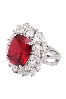 Rhodium Finish Red Ruby Stone and Zircon Ring by Tsara