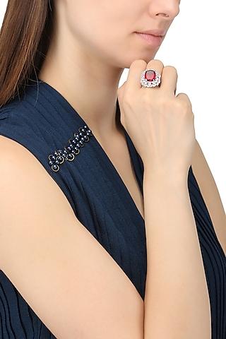 Rhodium Finish Red Ruby Stone and Zircon Ring by Tsara