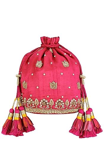 Pink and Gold Zari and Pearl Embroidery Potli Bag by Tisha Saksena