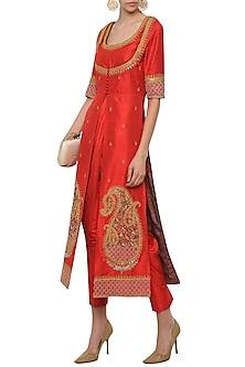 Red Drape Kurta with An Embroidered Jacket and Straight Pants by Tisha Saksena