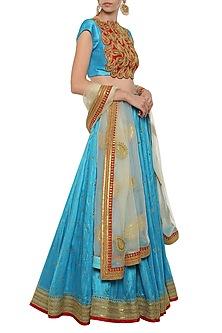 Turquoise Embroidered Lehenga Set by Tisha Saksena